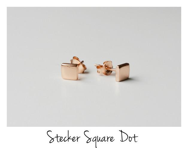 The Square Dot Tiny Ohrstecker ros vergoldet