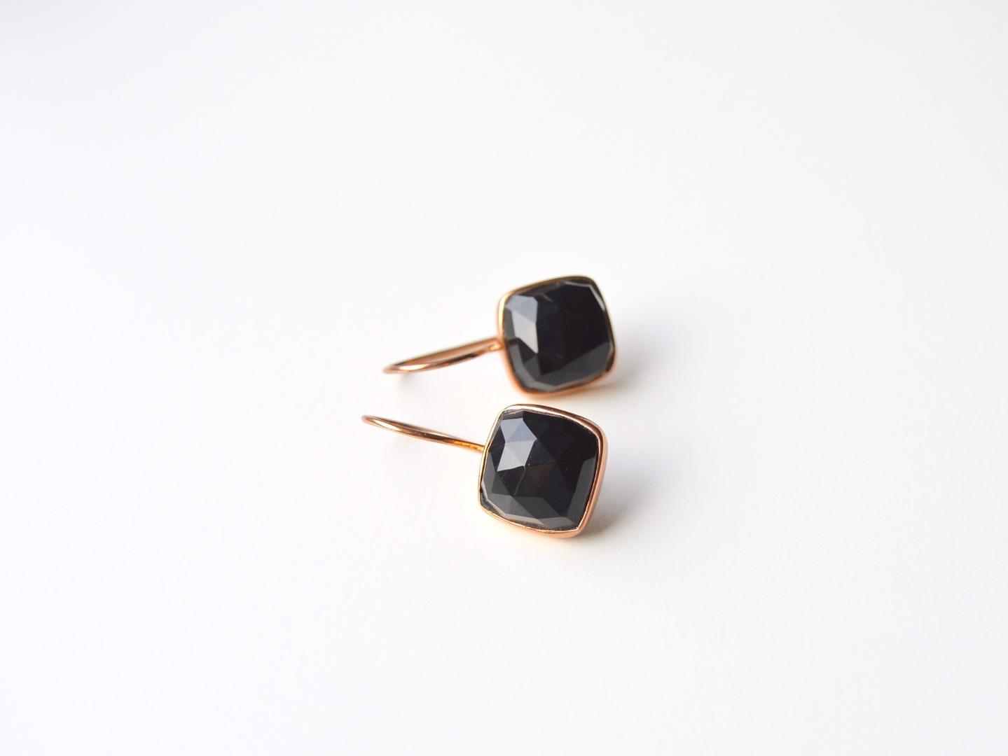 Deluxe Black Onyx Ohrringe ros vergoldet