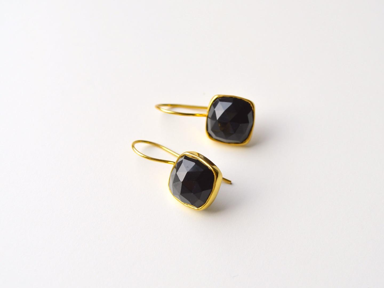 Deluxe Black Onyx Ohrringe vergoldet