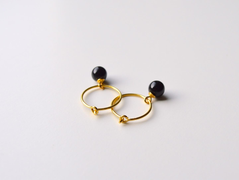Black Onyx Creolen vergoldet
