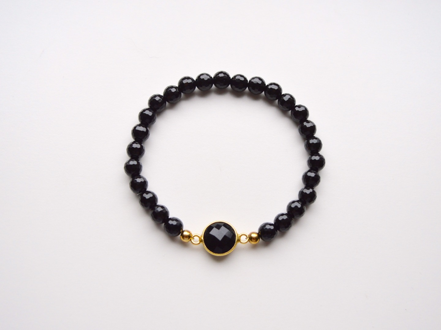New in Black Onyx Armband vergoldet