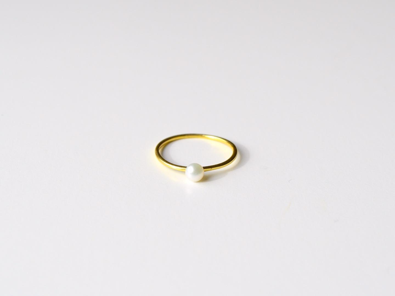 Zarter Ring Pearl vergoldet