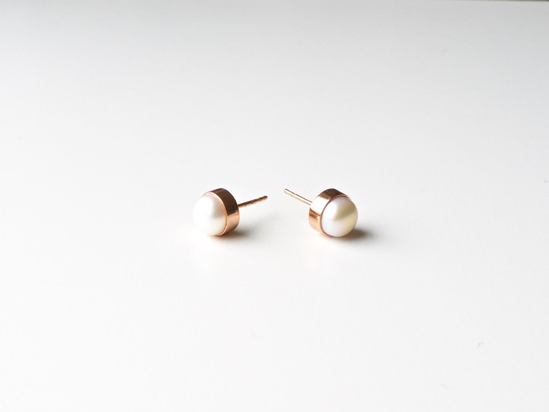 Bold Pearls Perlen Ohrstecker ros vergoldet