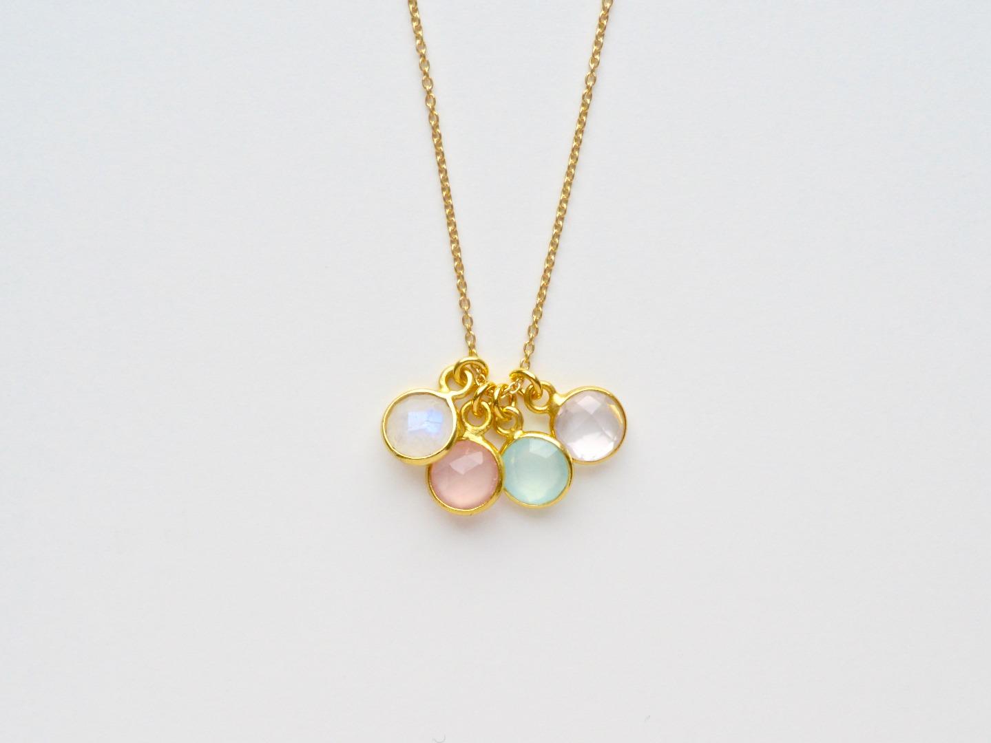 Tiny Gems Rosa Chalcedon Kette vergoldet