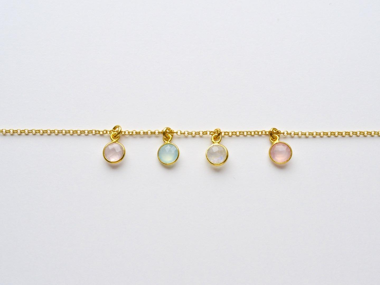 Tiny Gems Aqua Chalcedon Armband vergoldet