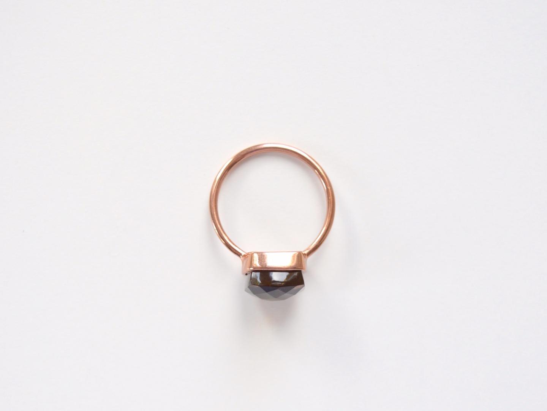 New in Rauchquarz Ring ros vergoldet