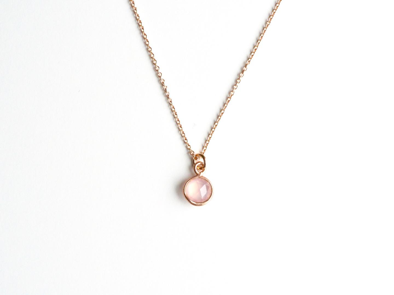Tiny Gems Rosa Chalcedon Kette ros vergoldet
