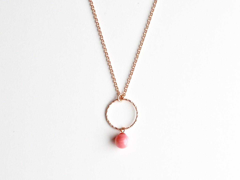 New in Kette Sparkling Circle Coral ros vergoldet