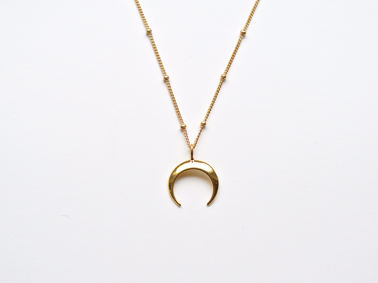 New in Big Crescent Moon Kette vergoldet