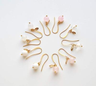 Bridesmaids Set 3 Paar Ohrringe vergoldet - Halbedelsteine Zarte Blaettchen