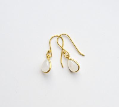 New in Zarte Mondstein Ohrringe vergoldet - 925 Sterling Silber