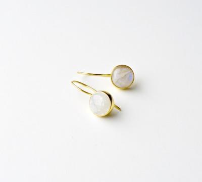 Deluxe Edle Mondstein Ohrringe vergoldet - 925 Sterling Silber
