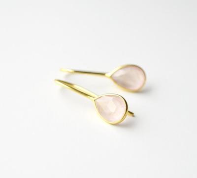 Feminin Zarte Rosenquarz Ohrringe vergoldet - 925 Sterling Silber