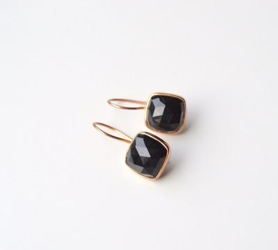 Deluxe Black Onyx Ohrringe ros vergoldet - 925 Sterling Silber