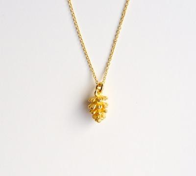 Herbstliebe Kette Pinienzapfen vergoldet - 925 Sterling Silber
