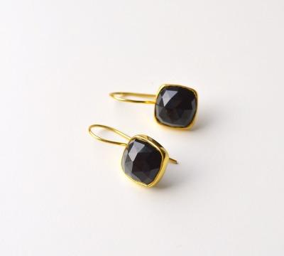 Deluxe Black Onyx Ohrringe vergoldet - 925 Sterling Silber