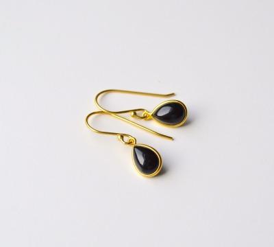 Edle Black Onyx Ohrringe vergoldet - 925 Sterling Silber