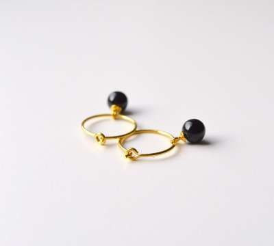 Black Onyx Creolen vergoldet - 925 Sterling Silber