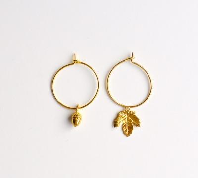 Herbstliebe Creolen Acorn Leaf vergoldet - 925 Sterling Silber