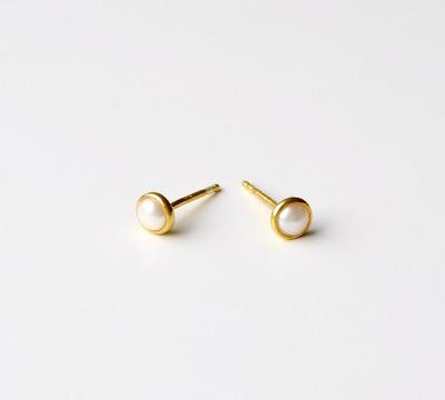 Tiny Collection Perlen Ohrstecker vergoldet - 925 Sterling Silber