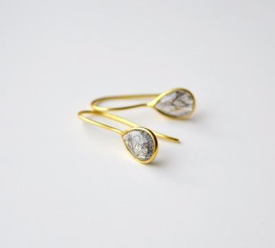 Feminin Zarte Rutilquarz Ohrringe vergoldet 925 - 925 Sterling Silber