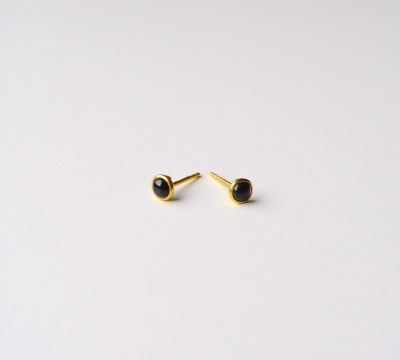 Tiny Collection Black Onyx Ohrstecker vergoldet - 925 Sterling Silber