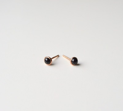 Tiny Collection Black Onyx Ohrstecker ros vergoldet - 925 Sterling Silber
