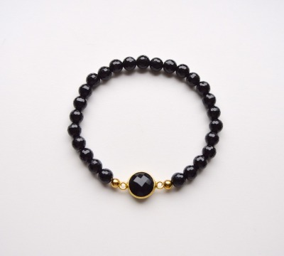 New in Black Onyx Armband vergoldet - 925 Sterling Silber