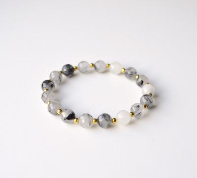 New in Schwarzer Rutilquarz Armband vergoldet - 925 Sterling Silber