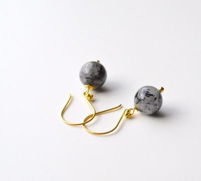Pur Edel Rutilquarz Ohrringe vergoldet - 925 Sterling Silber
