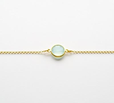 New in Aqua Chalcedon Armband vergoldet - 925 Sterling Silber