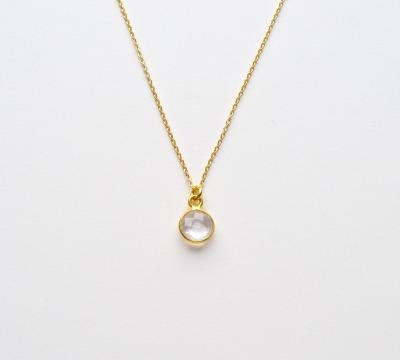 Tiny Gems Rosenquarz Kette vergoldet - 925 Sterling Silber