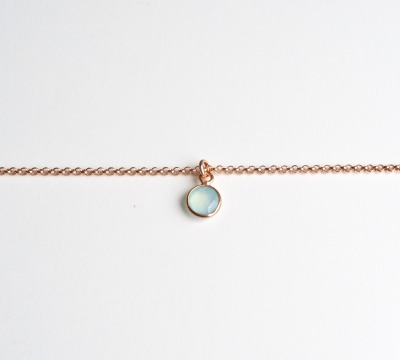 Tiny Gems Aqua Chalcedon Armband ros vergoldet - 925 Sterling Silber