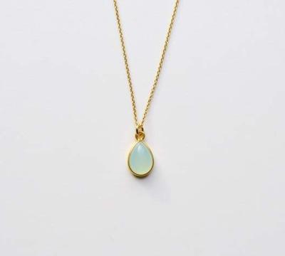New in Aqua Chalcedon Kette vergoldet - 925 Sterling Silber