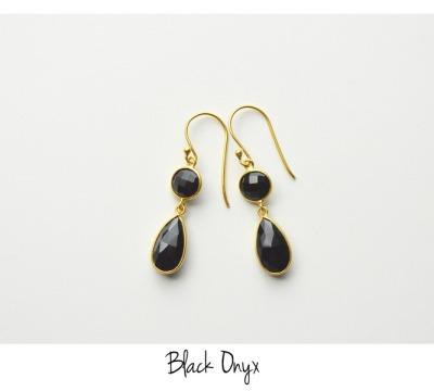 Deluxe Black Onyx Ohrringe vergoldet 925 Silber - 925 Sterling Silber