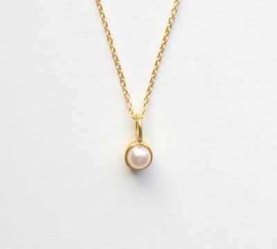 So zart Tiny Pearl Kette vergoldet - 925 Sterling Silber