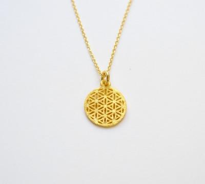 Zart Kette Flower of Life vergoldet - 925 Sterling Silber