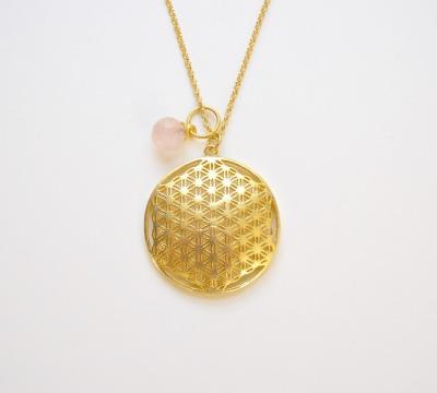Edel Flower of Life Rosenquarz Kette vergoldet - 925 Sterling Silber