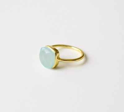 Square Dot Aqua Chalcedon Ring vergoldet - 925 Sterling Silber