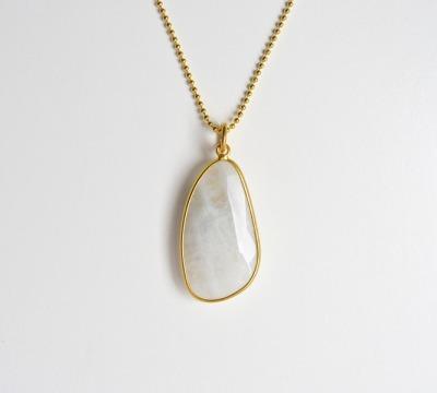 Unikat Grossartige Mondstein Kette vergoldet - 925 Sterling Silber