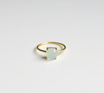 Feminin Aqua Chalcedon Ring vergoldet - 925 Sterling Silber
