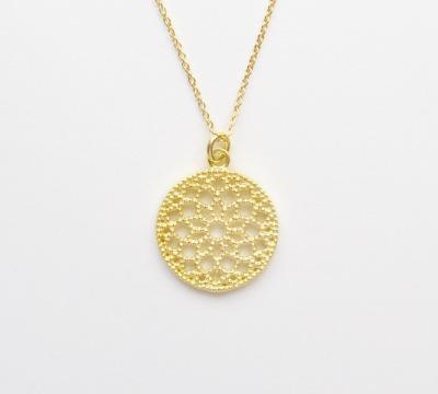 Gluecksbringer Mandala Kette vergoldet - 925 Sterling Silber