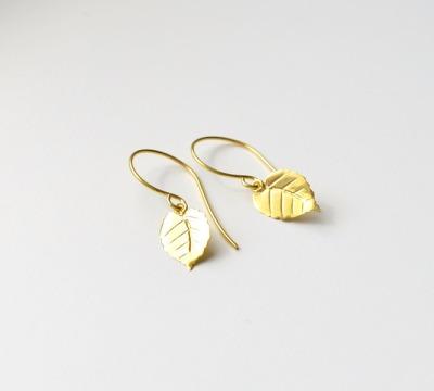 Herbstliebe Zarte Ohrringe Leaves II vergoldet - 925 Sterling Silber