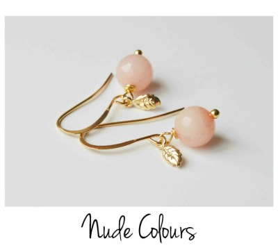 Nude Colours Jade Blaettchen Ohrringe vergoldet