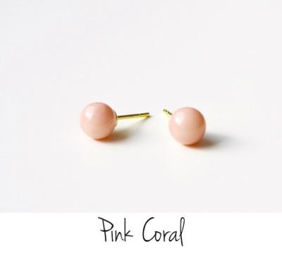 Soft Pastels Pink Coral Ohrstecker vergoldet - 925 Sterling Silber