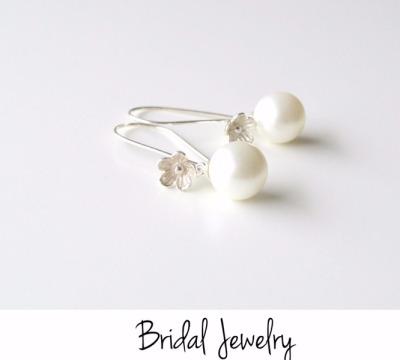 Bridal Jewelry Flowers Pearls Ohrringe - 925 Sterling Silber