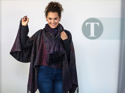 Oversize Poncho mit Schal Multicolored