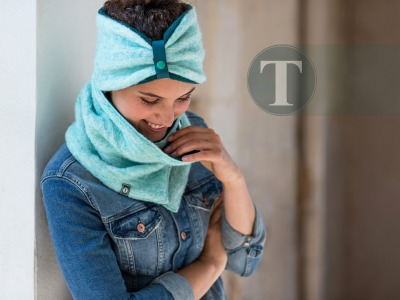 Set Schal Stirnband TurquoiseTaff