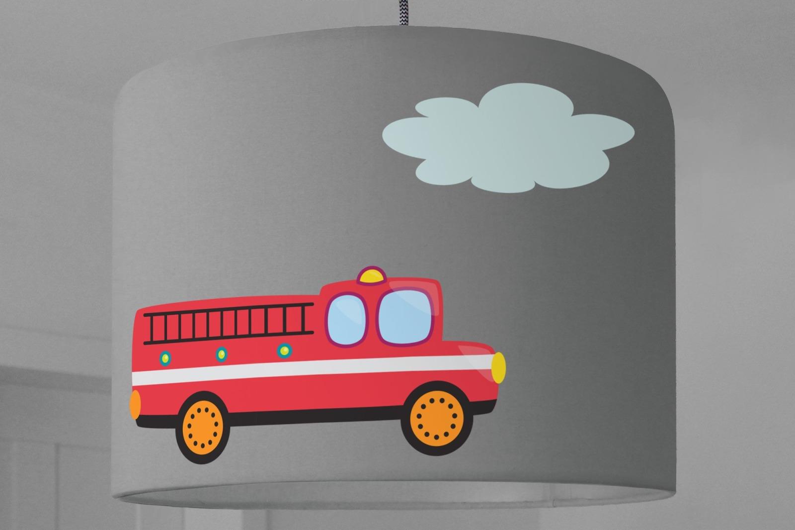 Lampenschirm Kinderzimmer FEUERWEHR Auto grau
