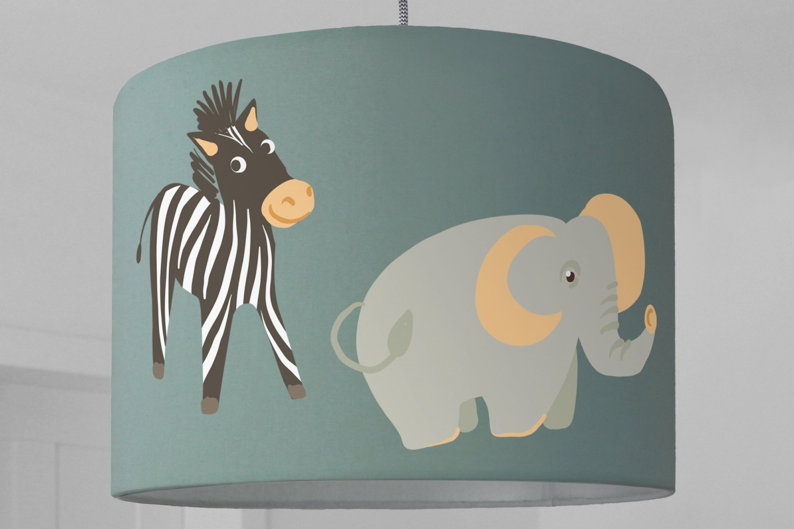 Lampenschirm Kinderlampe Panda Bar Giraffe Zebra Elefant
